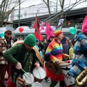 Carnival band. Community March Against Racism. Vancouver, March 18, 2012.