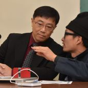 Building advocate David Wong, left, and Instant Coffee artist Jinhan Ko