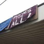 Banners Hang from the Ceiling of The Former Shelter Site