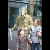 Two of many happy dino fans who posed for a photo