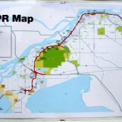 South Fraser Perimeter Road (SFPR) map posted at contractors' worksite