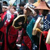 Heiltsuk-led march towards the Vancouver Art Gallery. Vancouver, March 26, 2012. Photo: Sandra Cuffe