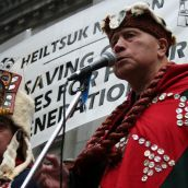 Edwin Newman of the Heiltsuk Nation addresses the rally. Vancouver, March 26, 2012. Photo: Sandra Cuffe