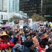 Hundreds of people filled the Vancouver Art Gallery grounds. Vancouver, March 26, 2012. Photo: Sandra Cuffe