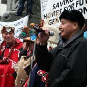 Grand Chief Stewart Phillip, of the Union of BC Indian Chiefs (UBCIC). Vancouver, March 26, 2012. Photo: Sandra Cuffe