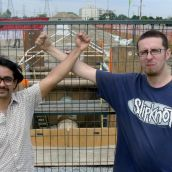 Council of Canadians' Amit Praharaj and TMC's Darryl Richardson with the exposed pipe