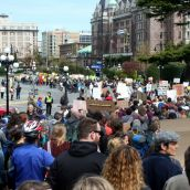 Leaving the legislature, the march snakes through downtown Victoria. April 15, 2012. Photo: Sandra Cuffe