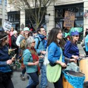 Marching bands keep spirits high. Victoria, April 15, 2012. Photo: Sandra Cuffe