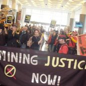 Mining justice rally enters the convention centre