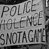 Police Violence is not a Game - Protest the Police and Fire Games 2009