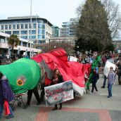 The salmon leading the march arrives in Centennial Square. Victoria, April 15, 2012. Photo: Sandra Cuffe