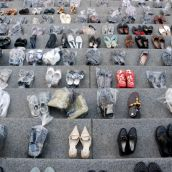 Shoes representing women murdered in BC
