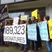 Delivering a petition signed by almost 200,000 calling for Nevsun shareholders to divest.