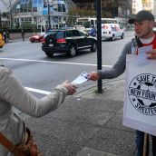 Handing out information for an online petition