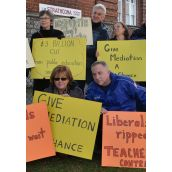 Teachers from Strathcona School in the Downtown Eastside took to the streets after class today.