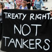 Treaty Rights Not Tankers. Vancouver, April 22, 2012. Photo: Sandra Cuffe