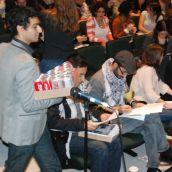 6pm AMS president Bijan Ahmadian with armful of Coke