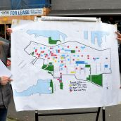 CCAP's Wendy Pederen and Jean Swanson with map of housing crisis