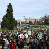 Hundreds and hundreds rally against pipelines and tankers. Victoria, April 15, 2012. Photo: Sandra Cuffe