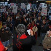 Dalannah Gail Bowen adresses rally at Vancouver Police Station