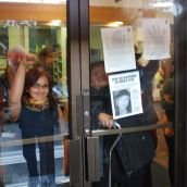 Women inside the police station demanding action from the VPD