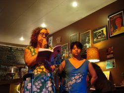 Leah Lakshmi Piepzna-Samarasinha & Ching-In Chen at the Rhizome Café in Vancouver