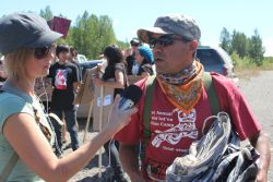 Sheila interviews Mel Bazil of the Wet'suwet'en Nation. photo: Adam Thomas