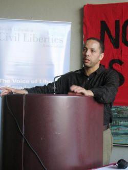 Adil Charkaoui speaks in Vancouver