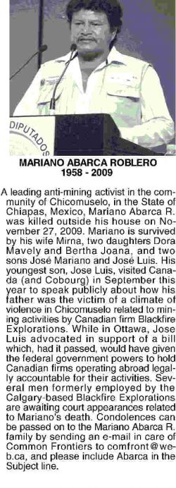 Mariano Abarca's obituary, which did not run in the Calgary Herald