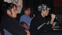 Left to Right) indigenous activists Carol Martin, Art Manuel and (speaking) Gord Hill // Photo by Murray Bush
