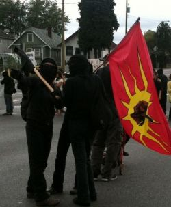 From an Anarchist G20 solidarity demo in Vancouver in July 2010
