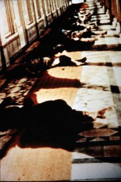 "Dead bodies lying in the Golden temple complex during operaion blue star on the orders of the then Prime Minister of India, Indira Gandi. Her chosen means of conflict resolution was VIOLENCE and MURDER. Would you be an ""ARDENT ADMIRER"" of a person like this?"