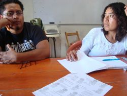 Bernardo Vásquez Sánchez and Rosalinda Dionicio Sánchez in the office of the Coordinating Committee of the United Villages of the Ocotlan Valley. Photo by Dawn Paley.