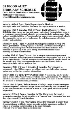 38 Blood Alley Anarchist Space February Schedule