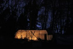 The main tent at night (photo by Scott Knowles).