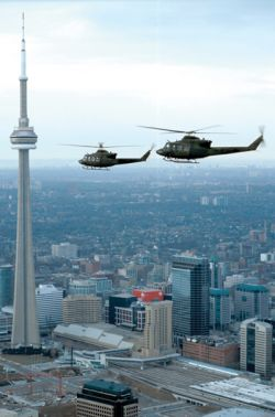Griffon military helicopters patrol skies over Toronto (photo: helicoptersmagazine.com)