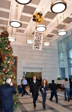 The banner released inside the lobby of 200 Burrard   -  photos courtesy VMC