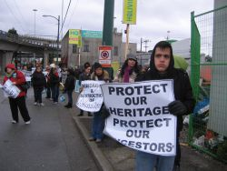 Musqueam First Nation members, supporters halt condo construction at Marpole midden site. Vancouver, March 12, 2012. Photo: Sandra Cuffe