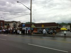 More than 40 folks gathered at Conservative MP Mark Strahl's office in Chilliwack to put him on watch for his support of back-room, undemocracti, pro-tar sands policies.