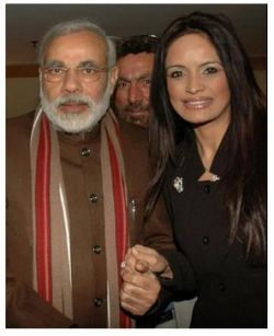 Ruby Dhalla,hand in hand with Narindra Modi, the man standing accused of allowing the genocide of muslims in Gujarat under his leadership.