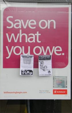 leaflets on bank window