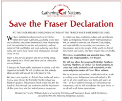 Text of Save the Fraser Declaration. Source: http://savethefraser.ca