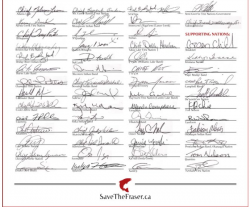 Signatures to the Save the Fraser Declaration. Source: http//savethefraser.ca