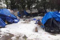 tent city in snow - picture Surrey Now Leader