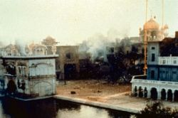 The destruction and burning of the Golden Temple complex on the orders of Indira Gandhi.