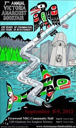 7th annual Victoria Anarchist Bookfair. Artwork by Gord Hill.