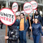 Rally for 160 food workers axed by SFU
