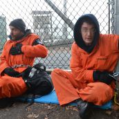 Greenpeace pipeline protesters chained to the Kinder Morgan entrance